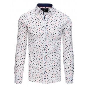 Štýlová pánska biela košeľa slim fit s ozdobnými modro červenými kvetmi