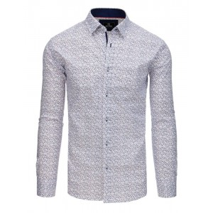Moderná biela pánska košeľa slim s jemnou potlačou vetvičiek