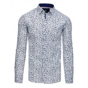 Krásna biela pánska košeľa slim fit s abstraktnou potlačou modrých kvetov