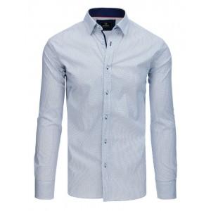 Moderná pánska biela košeľa s dlhým rukávom a jemnou modrou potlačou