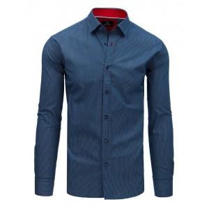 Spoločenská pánska košeľa modrá s potlačou a červeným golierom