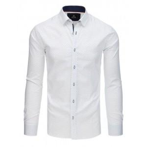 Luxusná biela pánska košeľa s dlhým rukávom a jemnou modrou potlačou