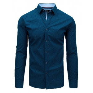 Luxusná pánska modrá košeľa slim s jemným svetlo modrým vzorom