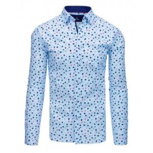 Štýlová svetlo modrá pánska košeľa s potlačou farbených kvetov