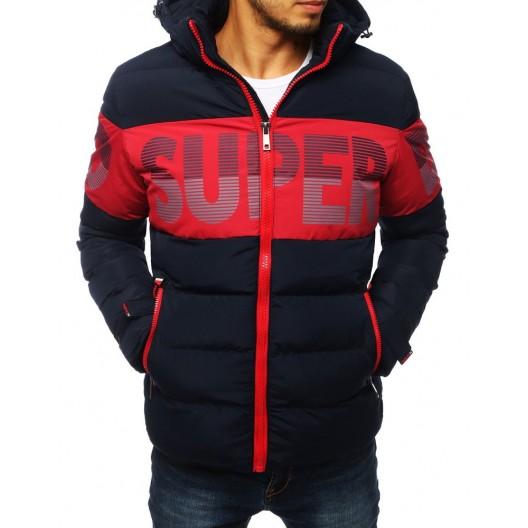 Pánska prešívaná bunda na zimu s farebnou potlačou