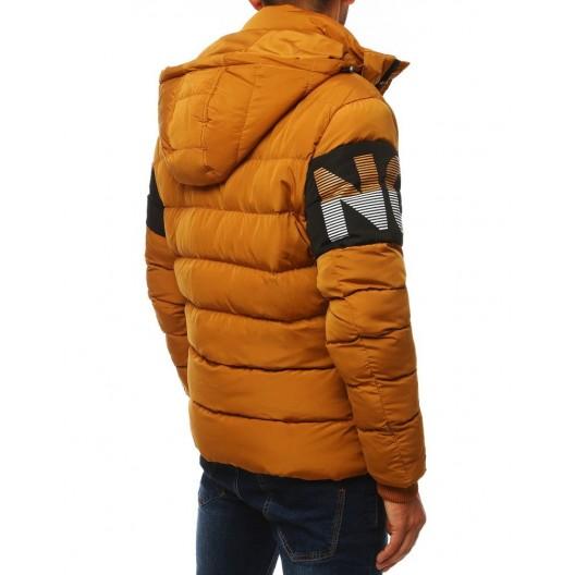 Moderná pánska prešívaná bunda na zimu žltej farby