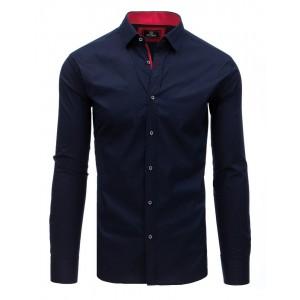 Granátovo modrá pánska košeľa s čevenou potlačou a golierom