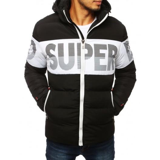 Čierno biela pánska bunda na zimu s odnímateľnou kapucňou