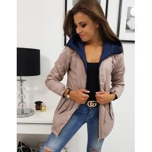 Obojstranná dámska prechodná bunda ružovo modrá s kapucňou na zips