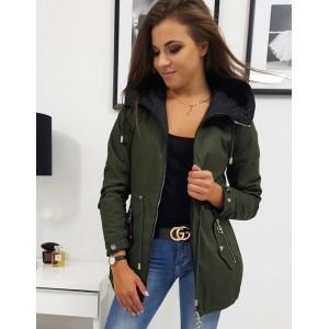 Trendy dámska obojstranná zeleno čierna bunda s módnou kapucňou