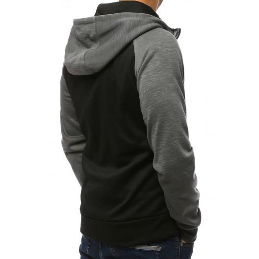 Pohodlná pánska mikina na zips tmavo sivej farby