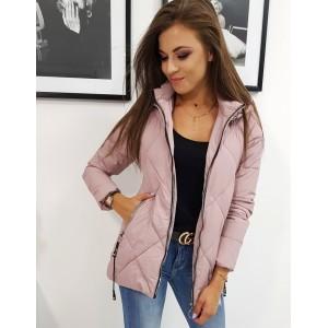 Módna dámska prešívaná ružová bunda so zapínaním na zips