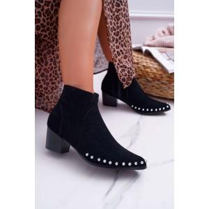 Originálne dámske čierne členkové topánky s perličkami v leme