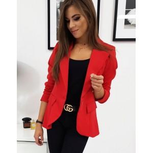 Dámske sako v červenej farbe s dlhým rukávom