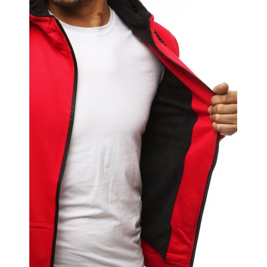 Červená pánska mikina s čiernym zipsom