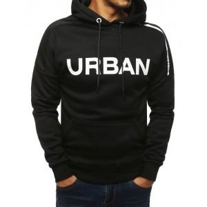Trendová čierna mikina s kapucňou a bielym nápisom urban