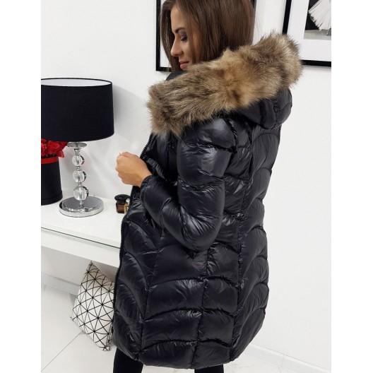 Čierna lesklá bunda pre dámy s kožušinou