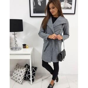 Dámsky sivý moderný kabát oversize so zavezovaním na opasok