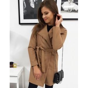 Štýlový dámsky kabát nad kolená nad kolená hnedo béžovej farby