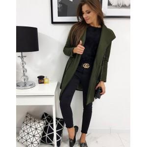 Trendy dámsky oversize kabát v zelenej farbe a širokým golierom