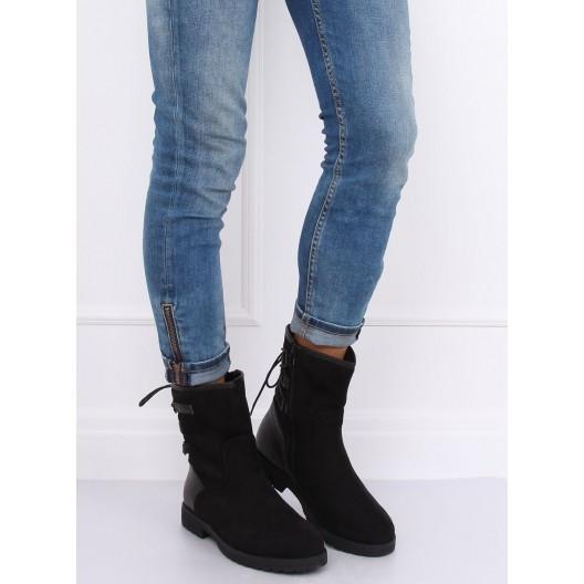 Zateplená dámska zimná obuv na zips s viazaním vzadu