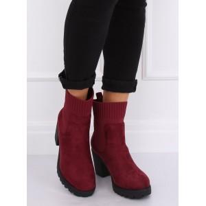 Trendové zateplené členkové topánky bordovej farby