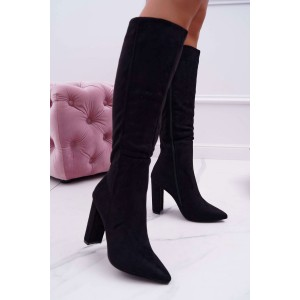 Moderné dámske semišové čierne čižmy na vysokom opätku