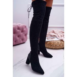 Čierne semišové čižmy nad kolená s viazaním a s ozdobnou pätou