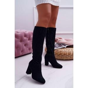 Elegantné čierne semišové čižmy pod kolená s okrúhlou špičkou