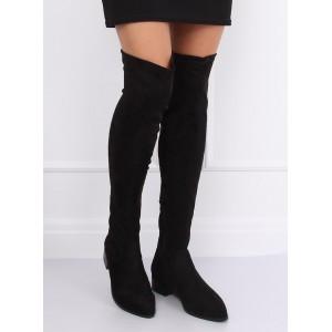 Čierne dámske semišové čižmy nad kolená na nízkom opätku
