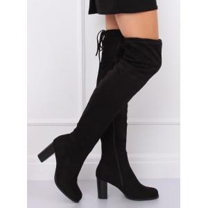 Dámske čierne semišové čižmy nad kolená s módnou šnúrkou