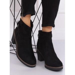 Dámske semišové topánky na zimu čiernej farby