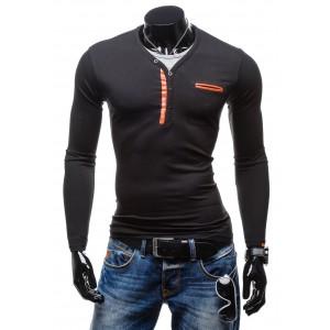 Pánsky nátelník čiernej farby s oranžovými aplikáciami
