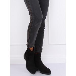 Čierne semišové topánky s potlačou na zadnej strane