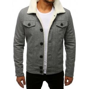 Pánska vlnená bunda s kožušinou v sivej farbe