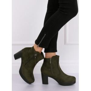 Trendová členková obuv na platforme v zelenej farbe