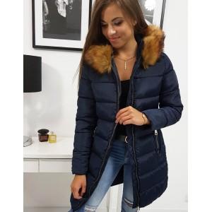 Originálna dámska granátovo modrá zimná bunda so zapínaním na zips