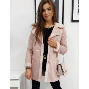 Dámsky kabát v ružovej farbe s kožušinou