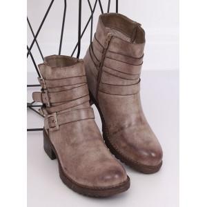 Béžové dámske členkové topánky s ozdobnými prackami