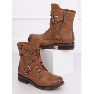 Hnedé jesenné topánky s viazaním na šnúrky a ozdobnými prackami