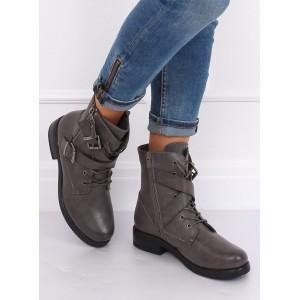 Dámska členková obuv sivej farby so šnúrkami a zipsom