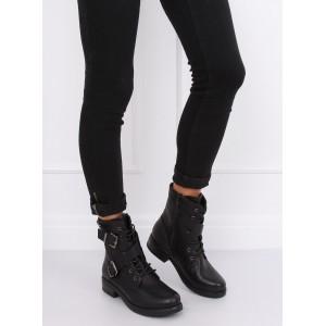 Trendová členková obuv čiernej farby pre dámy