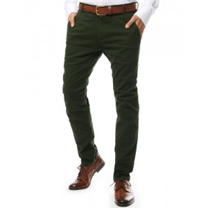Lacné pánske nohavice v zelenej farbe