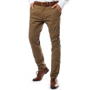 Spoločenské nohavice pre pánov v hnedej farbe