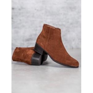 Krásne hnedé semišové jesenné topánky na nízkej podrážke