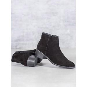 Jesenné dámske čierne semišové členkové topánky