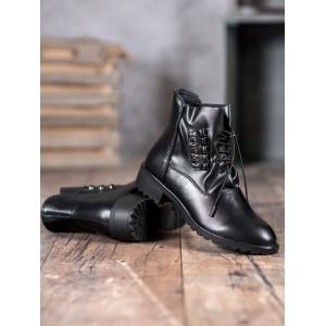 Štýlové dámske čierne kotníkové topánky s viazaním na sťahujúcu šnúrku