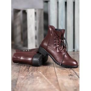Bordovo hnedé dámske členkové topánky s trendy designovým viazaním