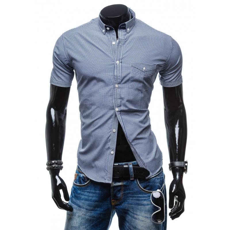 0b1ad1b34baa Štýlová pánska košeľa modrej farby s kockovaným vzorom - fashionday.eu