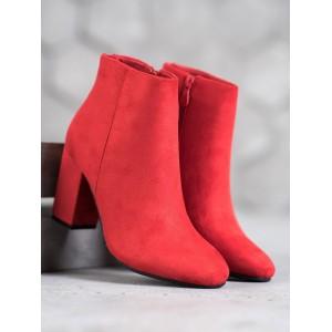 Štýlové dámske červené semišové čižmy s módnym zadným zipsom